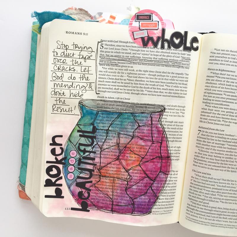 watercolor bible journaling   broken made beautiful - Romans 5   Bekah Blankenship
