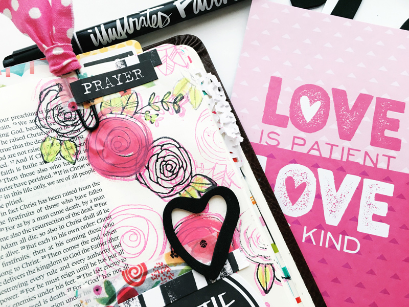 Bailey Jean Roberts shares about blooming in our faith and this mixed media art journaling Bible page   Illustrated Faith Beautiful Devotional Kit   Illustrated Faith by Bella Blvd