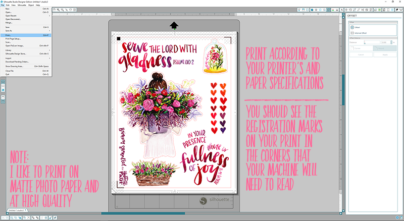 Offset Print and Cut Silhouette Step by Step Tutorial using the Illustrated Faith Print Pray Shop Printables | Psalm 16:11 | Bible Journaling | Illustrated Faith by Bella Blvd She Blooms Collection | Print Pray Paste Oh Happy Day by Brianna Showalter