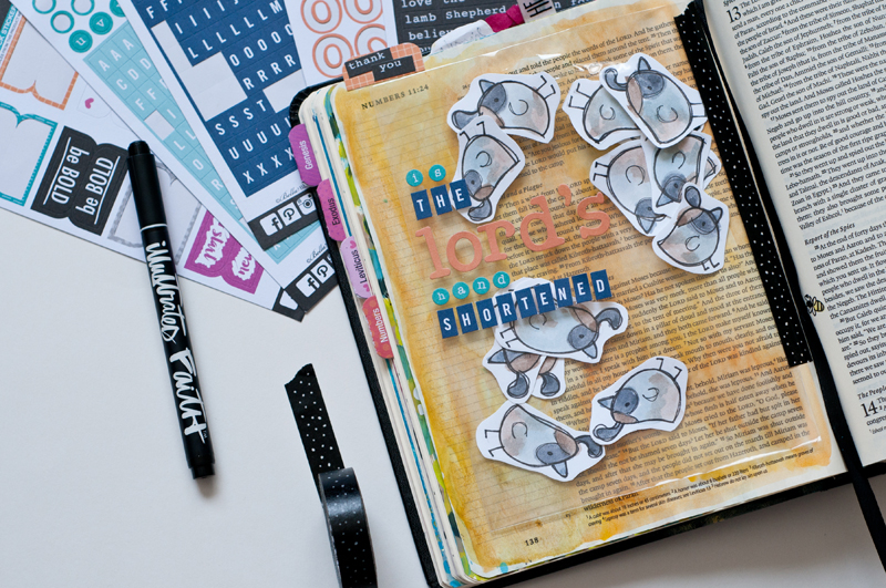 shaker card filled with quail representing the abundance of God's provisions and message by Jess Robyn | mixed media art journaling Bible | Illustrated Faith by Bella Blvd Genesis Collection
