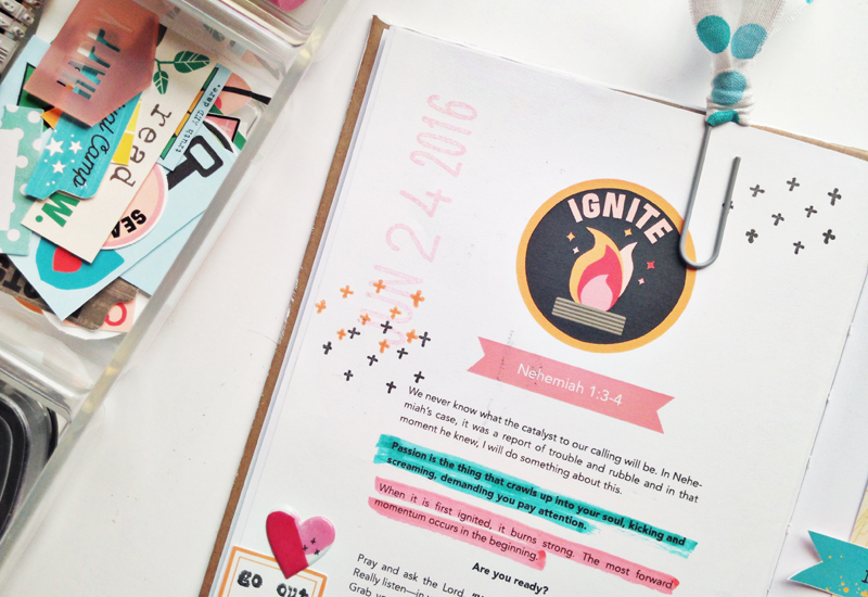 mixed media faith art journaling process video by Andrea Gray   Illustrated Faith Revival Camp: Ignite