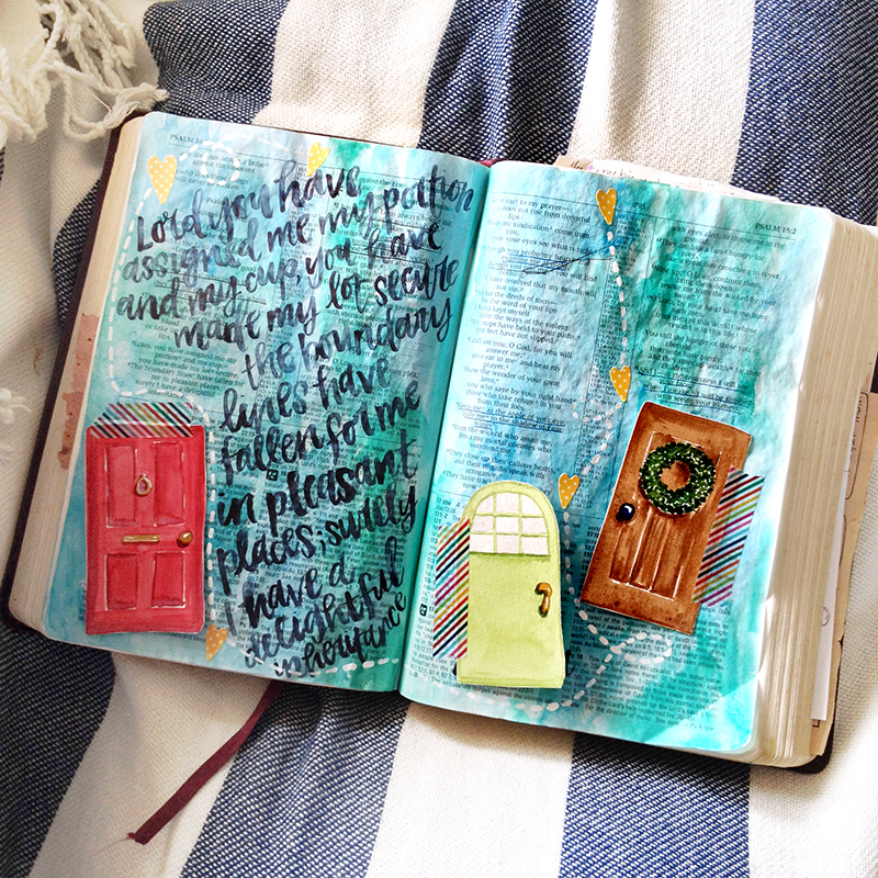 mixed media hybrid art journaling Bible by Brianna Showalter | Print Pray Shop My Father's House | watercolors | printables