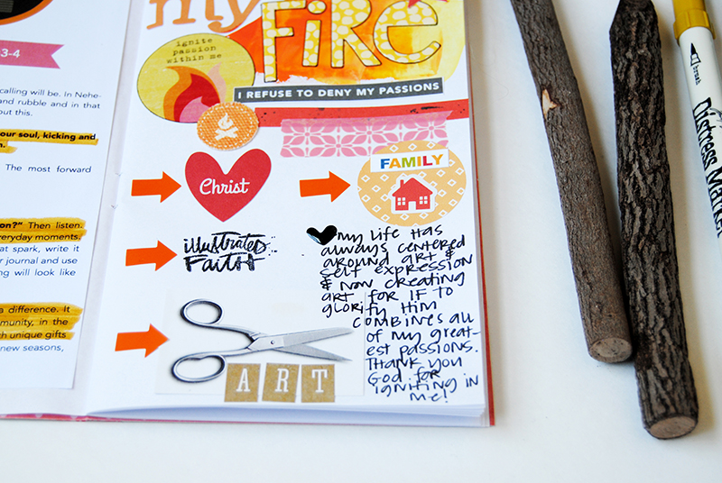 Ignite - Week #1 in Illustrated Faith's Revival Camp online workshop   mixed media faith art journaling by Elaine Davis