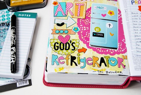 mixed media art Bible journaling by Elaine Davis   making art for God's refrigerator