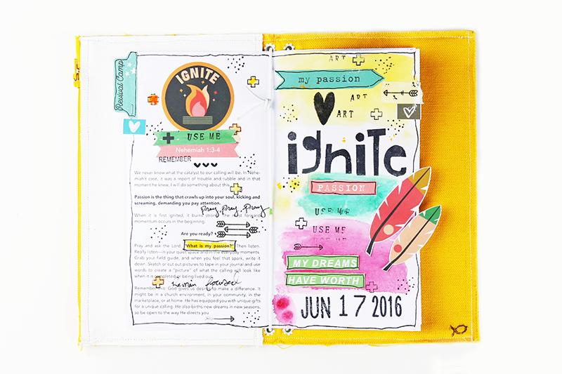 mixed media art faith journaling, Revival Camp Journal, Revival Camp Printables, Bible Journaling, Gina Lideros, Ignite
