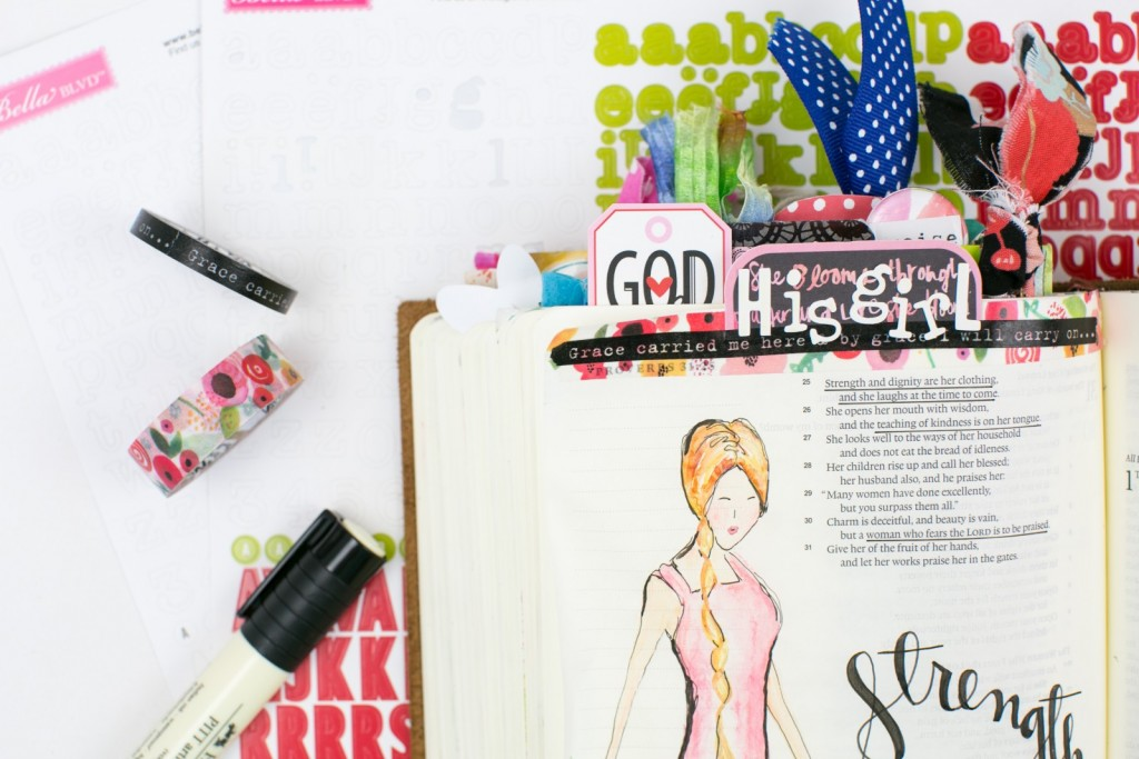 mixed media Proverbs 31 watercolor illustration by Amy Bruce   step by step process