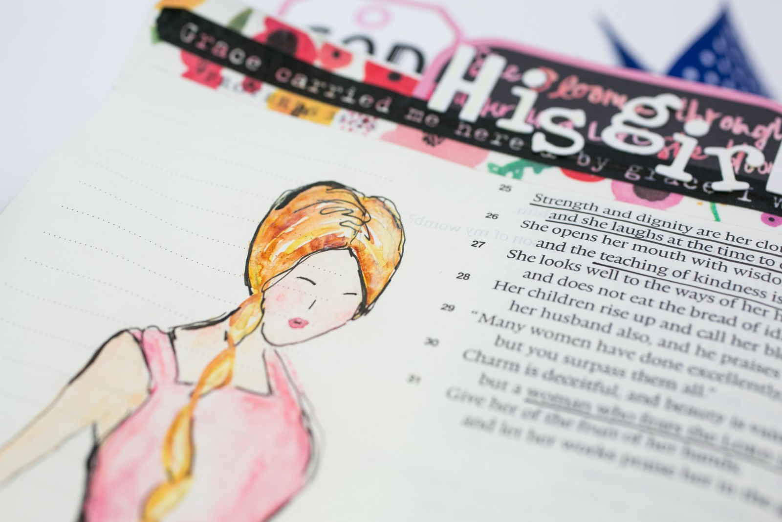 mixed media Proverbs 31 watercolor illustration by Amy Bruce | step by step process