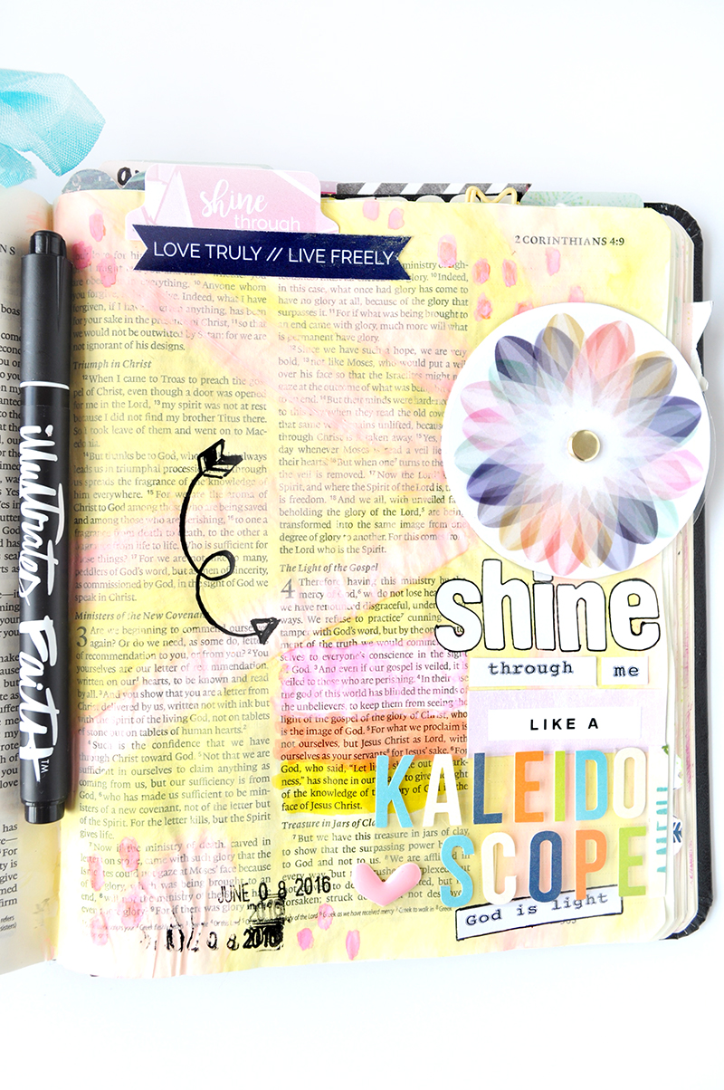 kaleidoscope tutorial | mixed media hybrid art journaling Bible | Print Pray Shop Salted Brew