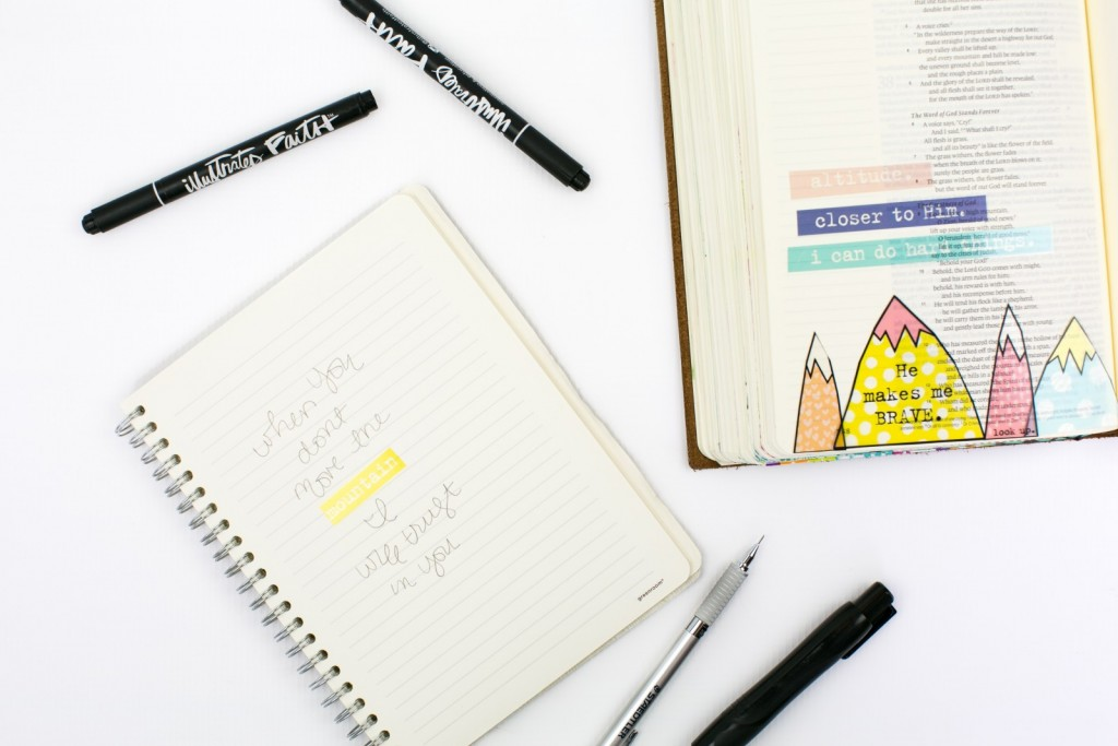 step by step tutorial by Amy Bruce | hybrid Bible Journaling using transparencies | Print Pray Shop Printables