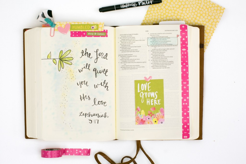 step by step mixed media Bible journaling process by Amy Bruce using PanPastels