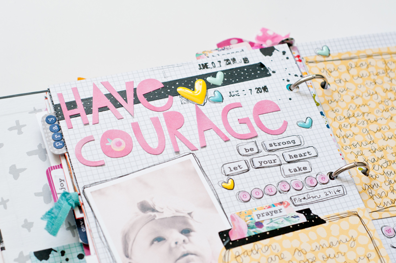 "scrapbooking letters and scripture to Jess' daughter | Praise Book and Baby Scrapbook | Cinderella movie's quote ""Have Courage and Be Kind"""