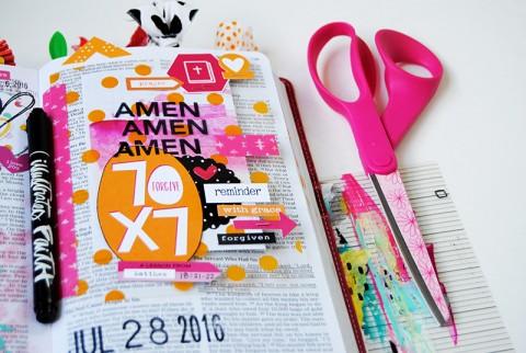 mixed media art journaling Bible tip-in | Forgiveness by Elaine Davis