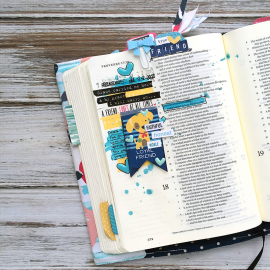mixed media art journaling Bible entry by Heather Greenwood | Proverbs 17:17 | tribute to loyal friend