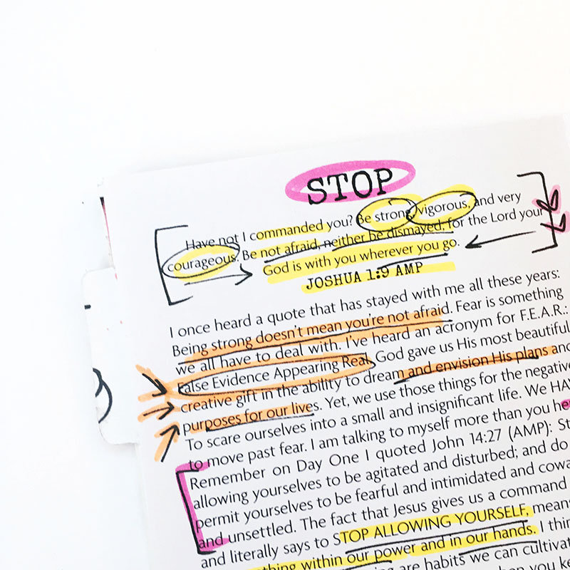 mixed media art journaling | Stop In The Name of Love by Bailey Jean Robert | I Am Strong Devotional featuring Wilna Furstenberg