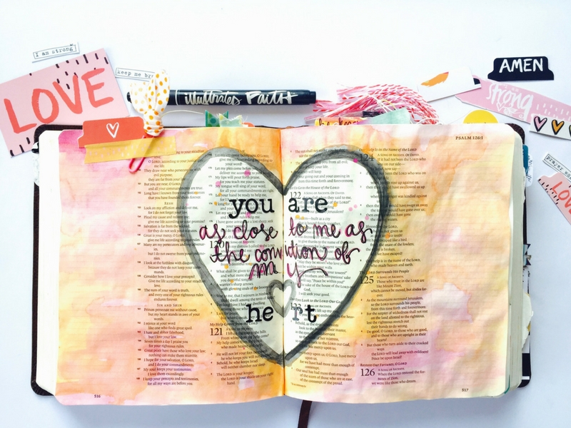 watercolor bible journaling | He Is Close | Psalm 121 | Illustrated Faith | Tawni Sattler
