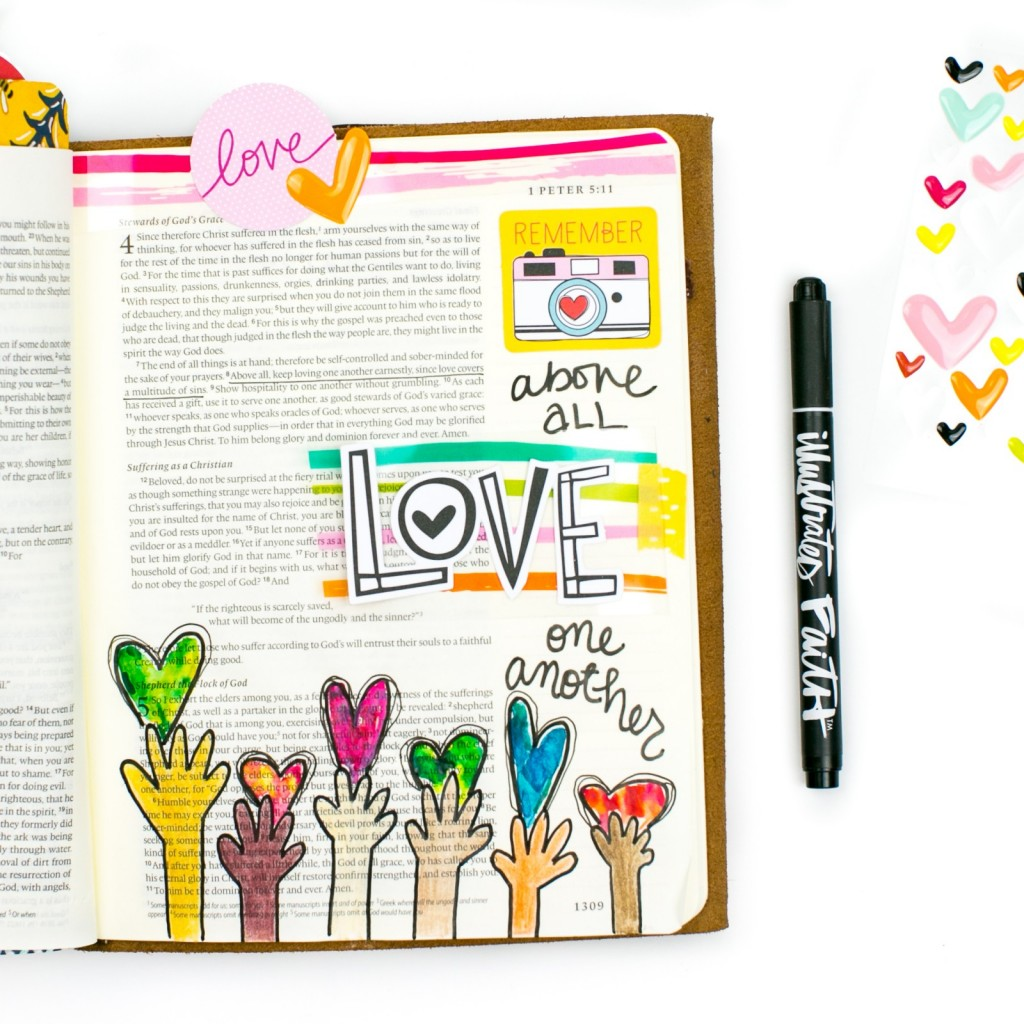 mixed media art journaling Bible entry by Amy Bruce | Above All, Love One Another - 1 Peter 5:8