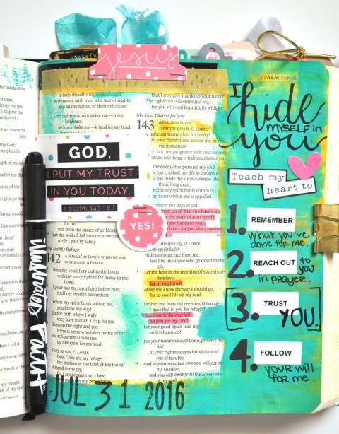 hybrid mixed media art journaling Bible entry by Leah Schumacher | Hiding in Him