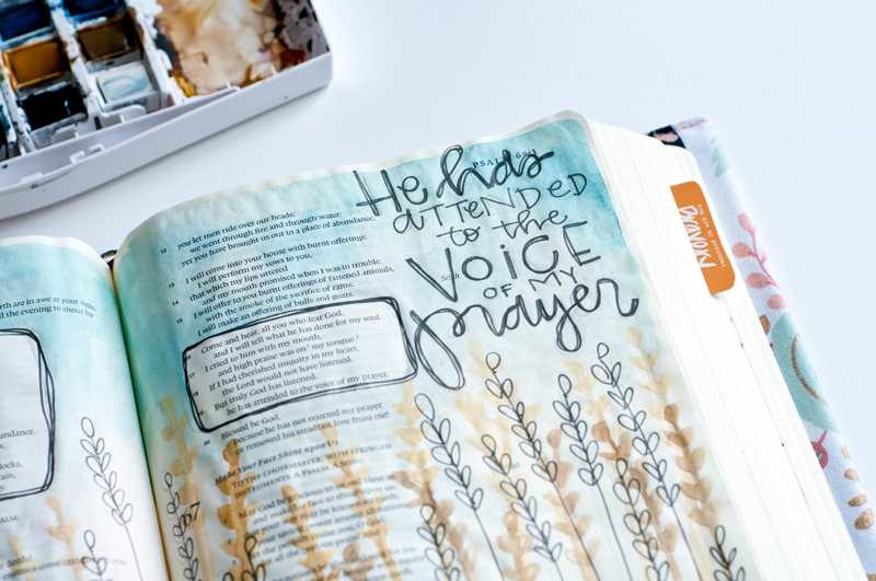 watercolor Bible journaling entry by Jess Robyn | Illustrated Faith by Bella Blvd | Answered Prayers