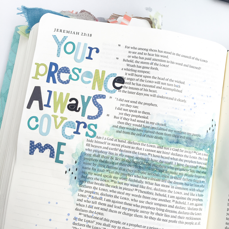 mixed media art journaling Bible entry by Bekah Blankenship   Your Presence Always Covers Me   Jeremiah 23