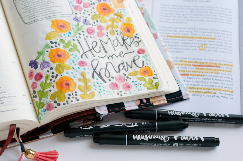 mixed media art journaling bible entry by Jess Robyn | He Makes Me Brave | I Am Strong devotional featuring Wilna Furstenberg