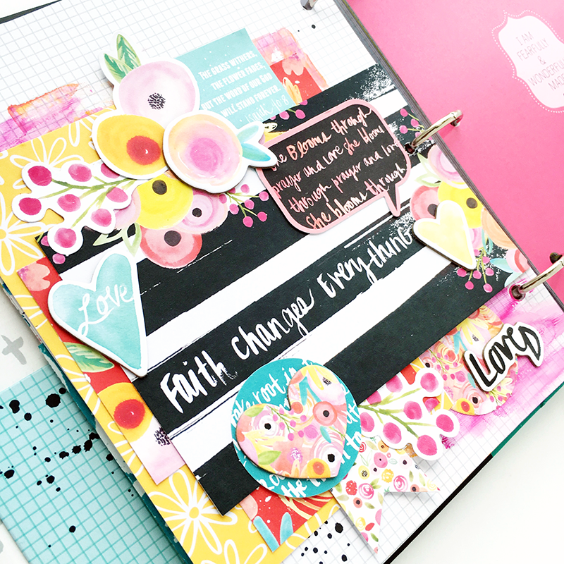 mixed media tutorial - hidden journaling prayer by Heather Greenwood | Illustrated Faith by Bella Blvd She Blooms and Praise Book