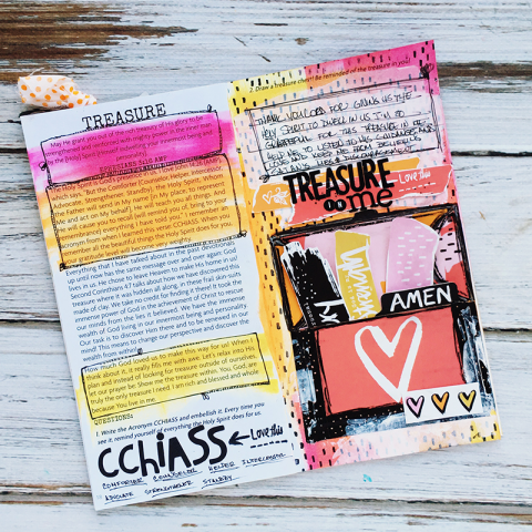 journaling notebook, treasure chest pocket, stamping, Holy Spirit, mixed media | Treasure In Me devotional entry by Heather Greenwood | I Am Strong devotional by Wilna Furstenberg