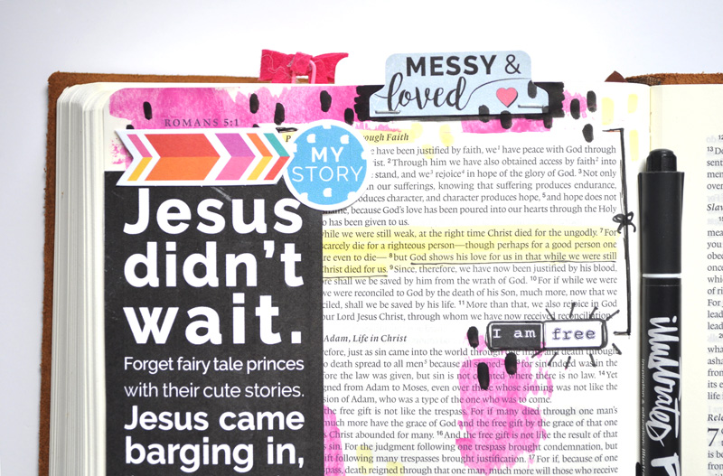 hybrid mixed media Bible art journaling by Leah of Salted Brew