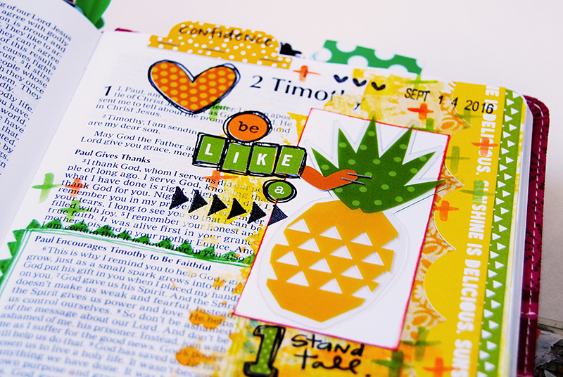 mixed media art journaling Bible list entry by Elaine Davis | be like a pineapple | comparison