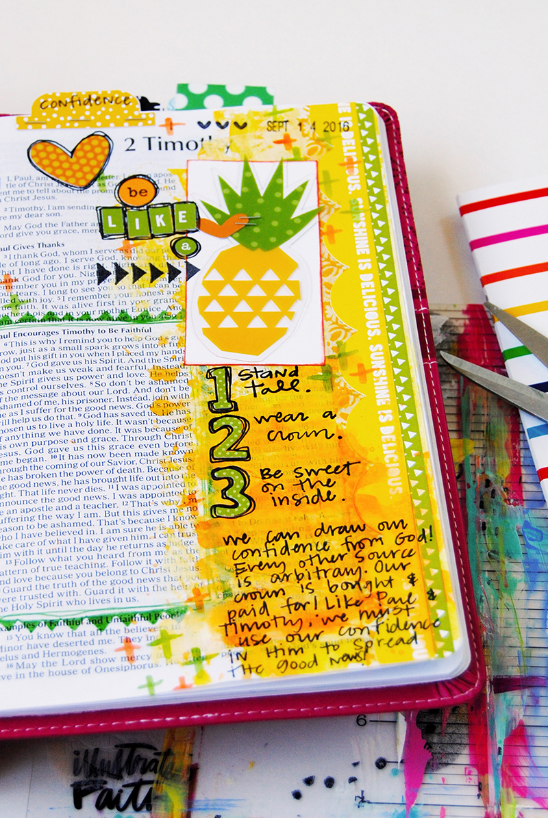mixed media art journaling Bible list entry by Elaine Davis   be like a pineapple   comparison