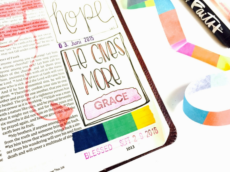 bible journaling by Tawni Sattler - He Gives More Grace