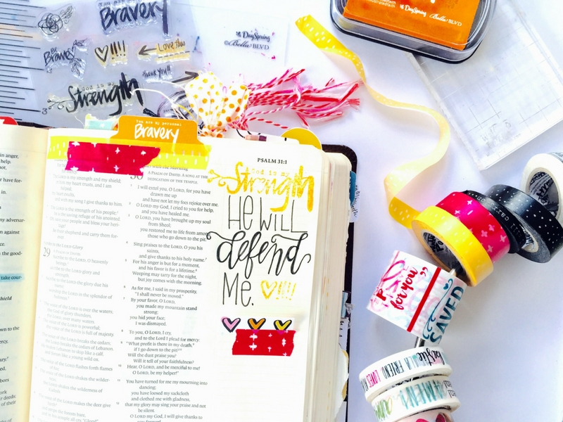 In My Defense | Illustrated Faith Bible Journaling | Hand Lettering | Tawni Sattler | Illustrated Faith I Am Strong Devotional by Wilna Furstenberg