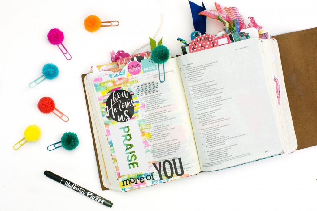 mixed media step by step Bible journaling tutorial by Amy Bruce   How He Loves Us devotional by Stephanie Buice