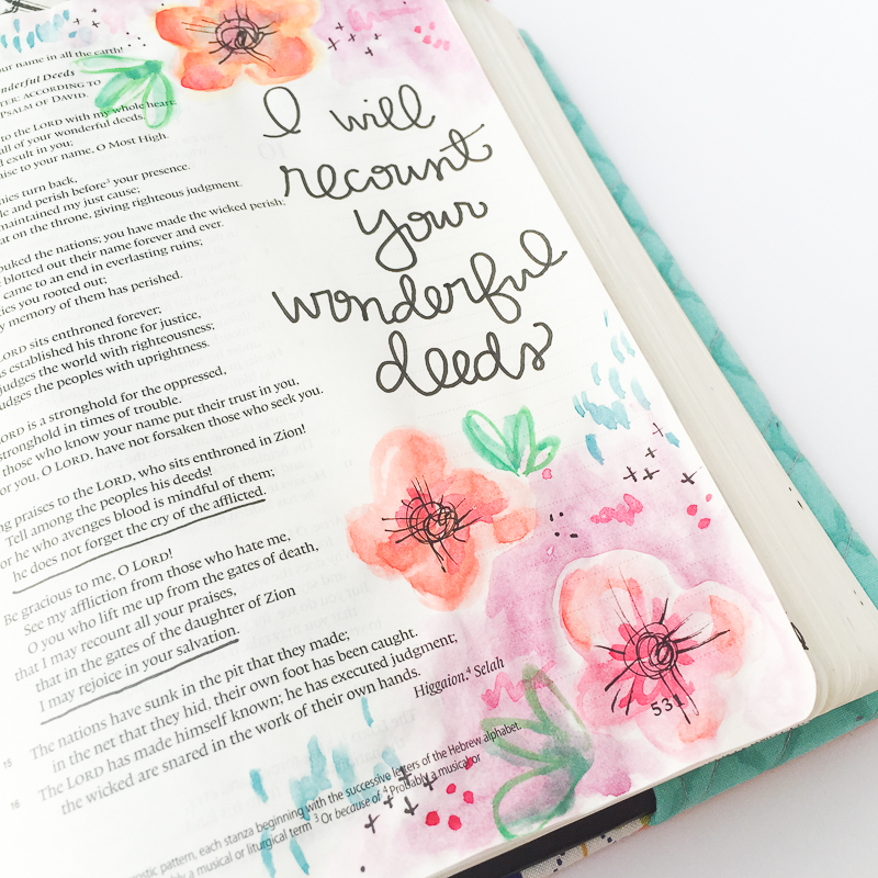 watercolor flowers handlettering Bible journaling entry by Bekah Blankenship   Thankful   Recounting   Psalm 9