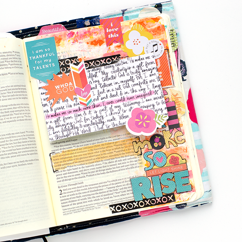 mixed media art journaling Bible entry by Heather Greenwood | Rise by Danny Gokey | Made to Crave by Lysa TerKeurst | Illustrated Faith by Bella Blvd Bright & Brave Collection