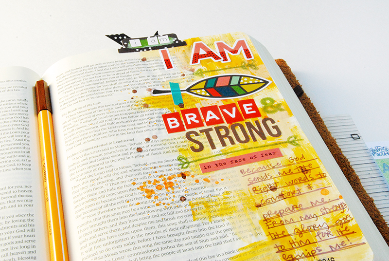 hybrid mixed media Bible Journaling by Elaine Davis   Fear, Dark Tunnels & Big Girl Pants   Illustrated Faith Brave & Strong Workshop