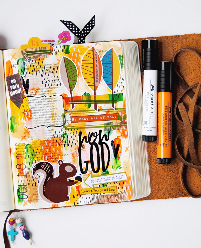 hybrid mixed media art journaling Bible entry by Elaine Davis | WOW GOD He Made All Of This! | Psalm 147:7-9