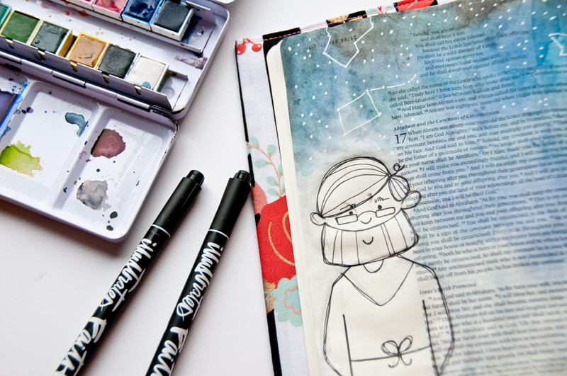 watercolor Bible journaling illustration by Jess Robyn | Abraham's Faith