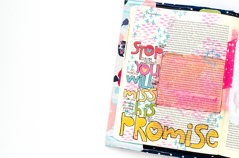 mixed media art journaling Bible entry by Heather Greenwood | Stop Making Excuses, You Will Miss God's Promises | Exodus 6