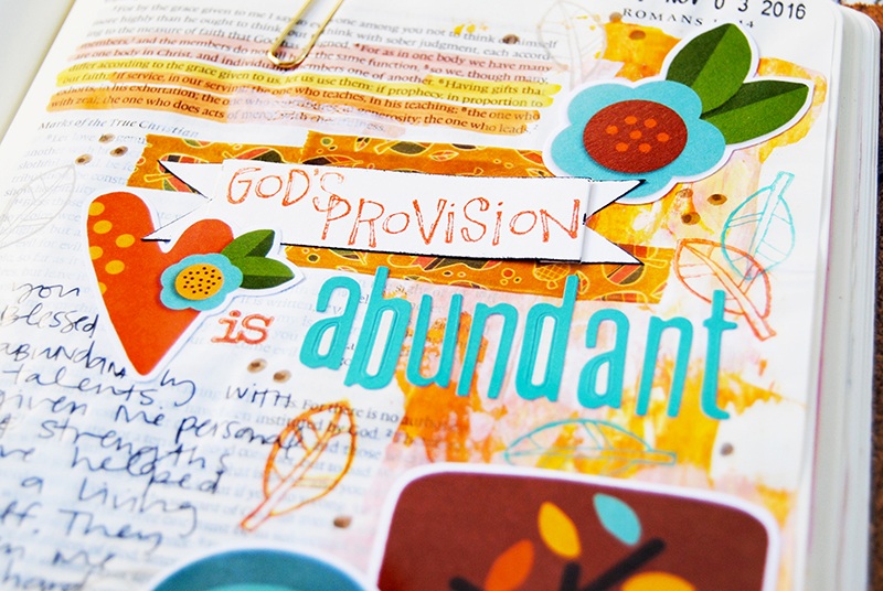 hybrid mixed media digital Bible art journaling entry by Elaine Davis | Gratitude Documented | Abundant Provision