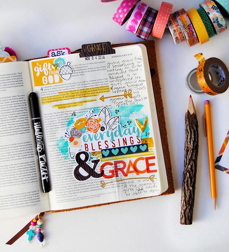 hybrid mixed media digital Bible art journaling entry by Elaine Davis | Gratitude Documented | Everyday Grace