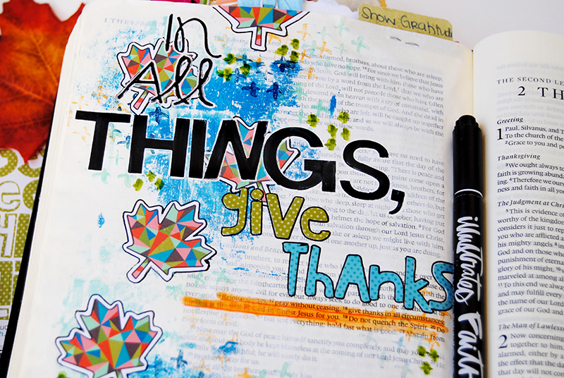 mixed media art journaling Bible entry by Abigail Clone  | Teen Topic: Showing Gratitude