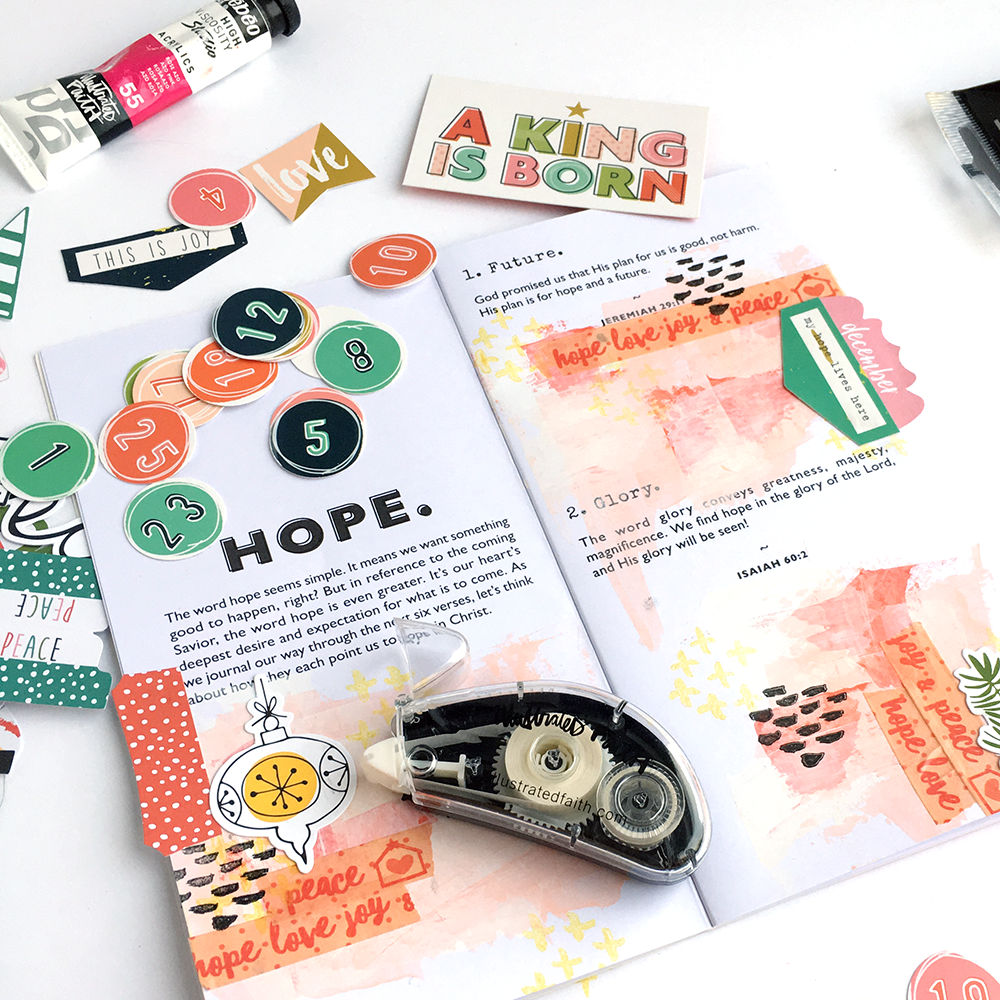 mixed media tutorial - devotional preparations by Heather Greenwood | Christmas | Advent |  stamping, acrylic paint, paper crafting, traveler's notebook, devotional, journaling, art journaling, Bible journaling, Illustrated Faith, Bella Blvd, Dayspring