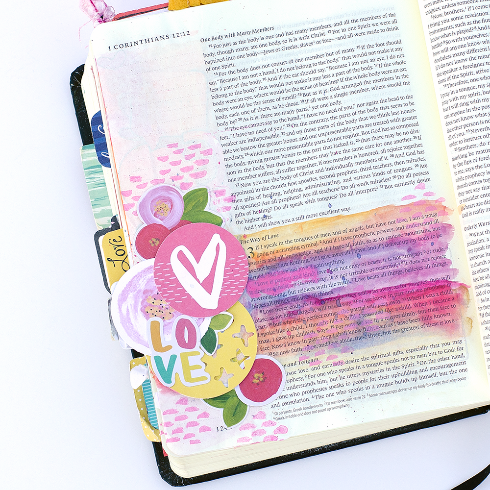mixed media tutorial clear embossing stamp resist watercolor by Heather Greenwood | 1 Corinthians 13 Bible Journaling