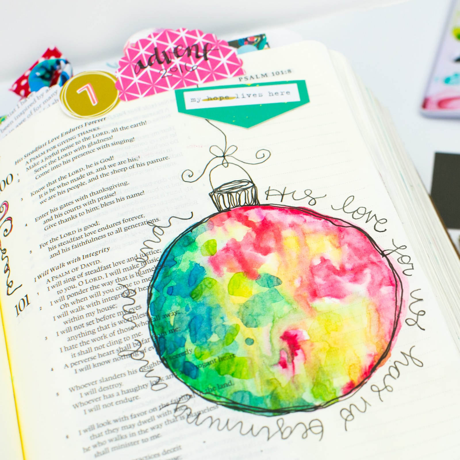 step by step Watercolor Tutorial   Leaning In - No Beginning and No End by Amy Bruce   Illustrated Faith 'Tis The Season #if_tistheseason   Illustrated Faith by Bella Blvd CHRISTmas collection