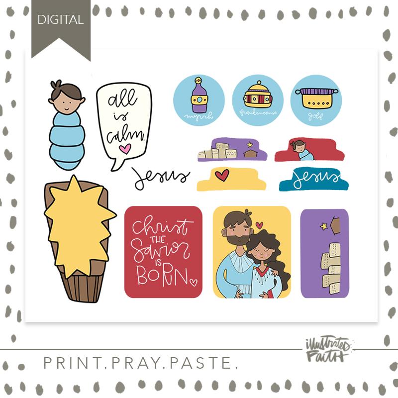 Print Amp Pray Kids Cutouts Baby Jesus Illustrated Faith