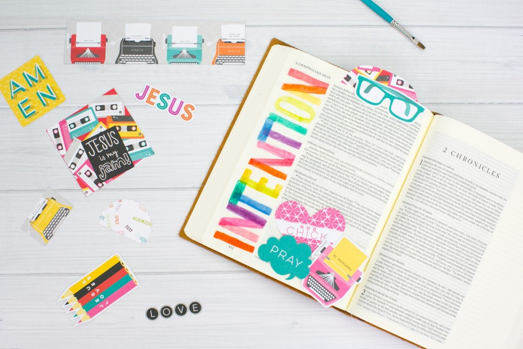 watercolor tutorial lettering One Little Word - Intention Bible journaling entry by Amy Bruce