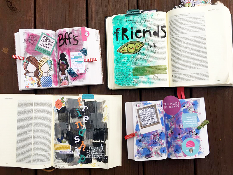 mixed media art Bible journaling by Abigail Clone | Teen Topic: Sharing Your Faith with Friends