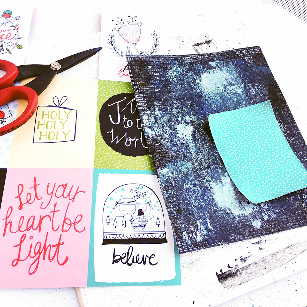 mixed media glitter background tutorial | Illustrated Faith by Bella Blvd CHRISTmas Collection, Praise Book, acrylic paint