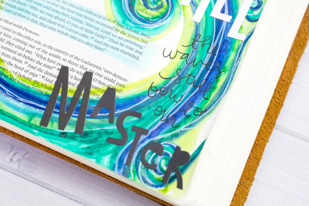watercolor tutorial bible journaling entry by Amy Bruce | Leaning In - Be Still |  Matthew 8:23-27