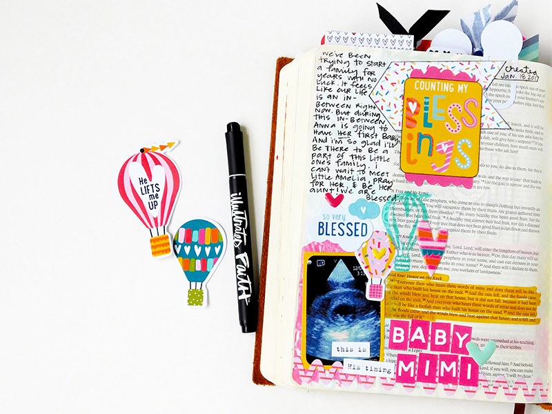 hybrid mixed media Journaling Bible entry by Elaine Davis |  During the In-Between | Print and Pray Shop and Illustrated Faith by Bella Blvd Delight in His Day Collection |  Matthew 7:24-27
